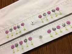 Yoyo Flower Garden Pillowcase set Hand Embroidered Lite Green a lilac It buttons #anniesupattic #Cottage