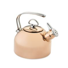 Chantal Copper Whistling Tea Kettle | With its harmonic two-tone whistle and wire loop handle, the Chantal tea kettle has earned its place over the last 30 years as a kitchen icon. This version brings you all of the kettle's classic features in a gorgeous, gleaming copper finish that looks stunning on your stovetop.