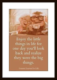 Enjoy the little things in life because one day you'll look back and realize they were the big things. Up quote