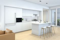 This luminous white-on-white palette represents the ultimate in modernist simplicity, complemented by Miele appliances.