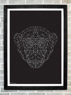 Monkey head triangles print 11x16 por Stola12 en Etsy