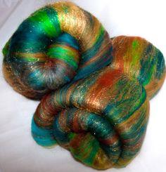 Spinning batts hand dyed Wensleydale locks Merino by YummyYarnsUK, £13.99