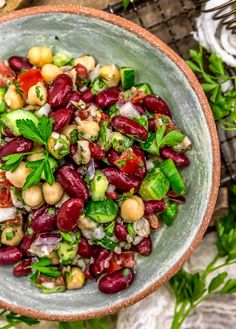 Flavorful and healthy, this Oil Free Lebanese Bean Salad is a burst of delicious plant based ingredients and comes together in no time. #wholefoodplantbased #vegan #oilfree #glutenfree #plantbased | monkeyandmekitchenadventures.com Vegetables Photography, Fruit Photography, Salad Recipes, Vegan Recipes, Awesome Recipe, Bean Salad, Salad Ingredients, Summer Salads, Recipe Box