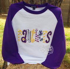 Womens Baseball Raglan Mascot TShirt Ladies Baseball Mascot Raggy Applique School Spirit Mascot Glitter Rhinestone Bling Mom Coaches Wife