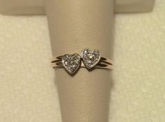 14K Yellow Gold Ring Twin Hearts Cluster 14 Genuine Diamonds 1.9 Grams Size 6.25 #TRUJOY #Cluster
