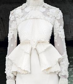 Beautiful Couture Fashion - white on white appliqué textures, pleats and structured folds; luxury fashion details // Givenchy
