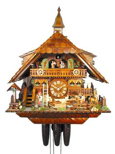 Black Forest Clock of the Year 2010: Cuckoo Clock 8-day-movement Chalet-Style 58cm by August Schwer. Clock with Black Forest Horses.