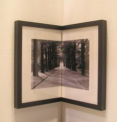 One of the coolest things I've seen done with a picture in a frame.  Evoke F.L. Wright by stacking one on the other in a dark corner. Bright nature photos, to make a 'view'. #pictureframesideas