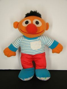 Playskool Jim Henson Seasame Street Ernie Rattle Stuffed Plush Stuffed Baby Toy