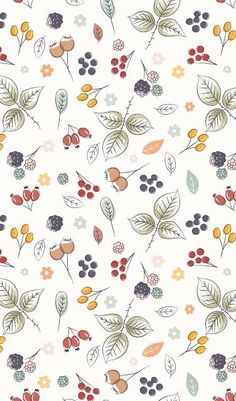 illustration, pattern, simple, floral, autumn, drawing
