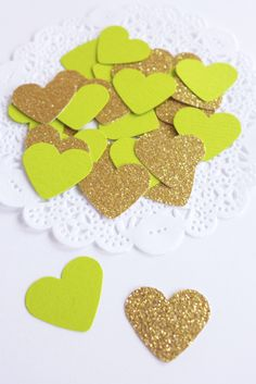 Lime Green and Gold Heart Confetti