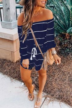 Balanla Off Shoulder Striped Drawstring One-piece Romper Lovely Jumpsuit Pure Color Strapless Sleeveless Tee Length Jumpsuit Classy Outfits, Trendy Outfits, Cute Outfits, Fashion Outfits, Work Outfits, Casual Summer Outfits For Women, Dinner Outfits, Dress Up Outfits, Overall Shorts