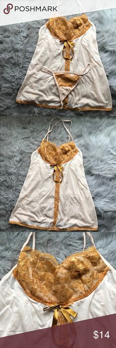 gold lingerie set New without tags nude babydoll lingerie with gold lace bodice and piped edging. Features v strap closure, and matching underwear. Intimates & Sleepwear