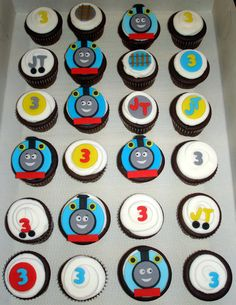 Thomas The Train Cupcakes -  I think I would make these out of candy melts instead of fondant or gum paste
