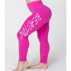 Beastin Pink Workout Leggings Fitness Pants Gym Pants Cross Training... ($42) ❤ liked on Polyvore