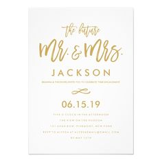 Simple elegant black and white engagement party invitation chic hand lettered gold engagement party card stopboris Image collections