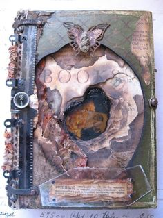 journal with a burnt niche, copper mesh, and tin-type