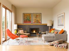 Mid century modern rustic living room living room midcentury with stone fireplace grey couch stone fireplace
