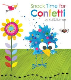 Snack Time for Confetti by Kali Stileman.  Characters and props: squawky birds, giraffe, zebra, elephant, monkey, crocodile, various food items (veggies, grass, leaves, bananas), assorted bug puppets.