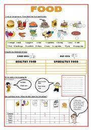 English worksheet: Healthy and Unhealthy Food | ayat | Pinterest ...
