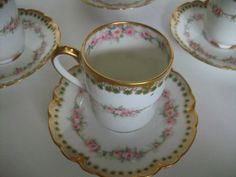 Haviland Limoges France Demitasse Cup and Saucers by LaCheriMaison, $160.00