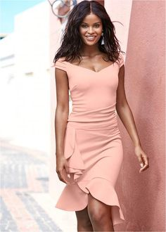 CAP SLEEVE RUFFLE DETAIL DRESS Brunch Dress, Brunch Outfit, Thing 1, Dress Outfits, Fashion Outfits, Cruise Outfits, Fall Outfits, Dress Fashion, Summer Outfits
