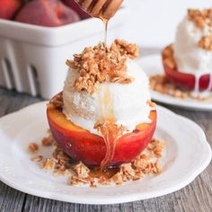 Grilled Peach Crisp Sundaes with Cinnamon-Honey Drizzle. The most deceptively impressive dessert on the block.
