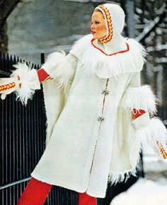 1970s Knitting Pattern Bohemian Cape with Hood Helmet Hat and Mittens Vintage PDF. $4.00, via Etsy.