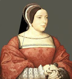 EXCERPT: 'Circa1525 French. This lady wears a red brocade gown. The sleeves are turned back very high on the arms and lined with the same fabric. The neckline shows the thickness of the brocade and the black bodice beneath the upper brocade body which has been wound around her torso and securely pinned. A fine chemise with elaborate sleeves decorated with blackwork embroidery. She wears an extremely fine gauze covering at her neckline. Her jewelled French hood is secured under the chin.'