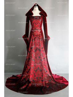 Red Velvet Gothic Hooded Medieval Dress