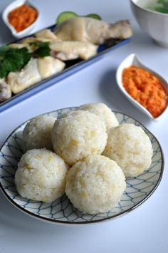 Hainanese Chicken Rice Balls With Garlic Chilli Sauce