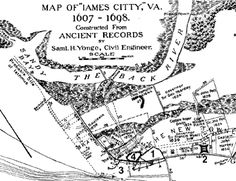 Old map showing location of Jamestown Virginia George Glazer