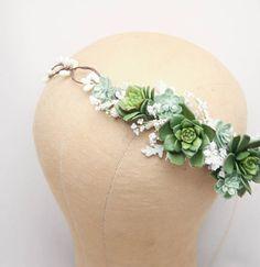 Rustic Succulent Flower Crown Wedding Headband Green Bridal