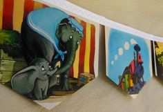 DUMBO Vintage Disney Bunting Children Circus  Nursery Party Repurposed story book Decoration eco friendly  gift baby shower birthday on Etsy, $18.72
