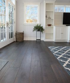 Dark Wide Plank Hardwood Flooring A dreamy espresso color Tremont brings a sophisticated feel to any room. Made of French Oak this wide plank hardwood flooring is engineered to last. The post Dark Wide Plank Hardwood Flooring appeared first on Wood Diy. Modern Wood Floors, Grey Hardwood Floors, Cheap Wood Flooring, Living Room Hardwood Floors, Rustic Wood Floors, Diy Wood Floors, Hardwood Floor Colors, White Wood Floors, Wide Plank Flooring
