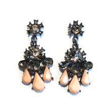 Peach and Black Rhinestone Earrings