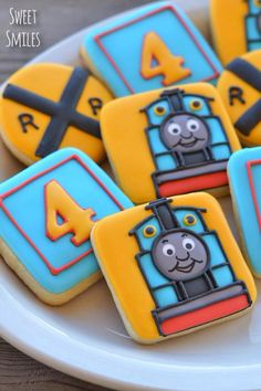 Thomas the Train cookies Thomas Birthday Parties, Thomas The Train Birthday Party, Trains Birthday Party, Train Party, Birthday Fun, Birthday Ideas, Iced Cookies, Royal Icing Cookies, Sugar Cookies