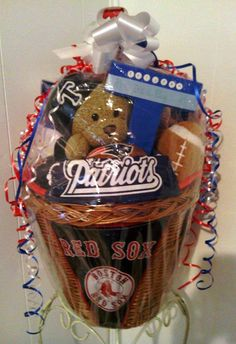 """SOLD Custom & Personalized """"It's A Boy"""" Baby Shower Gift Basket $75  PATRIOTS/RED SOX -Tristan"""