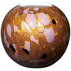 A handmade glass vase awash in brilliant, sparkling accent colors. Style # at Lamps Plus. Copper Glass, Amber Glass, Lavender Color, Modern Glass, Glass Collection, Votive Candles, Decoration, Tea Lights, Decorative Bowls