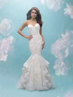 221c50b855e24 Allure Bridals 9456 Strapless Lace Mermaid with Ruffle Skirt Wedding D – Off  White Mermaid Gown