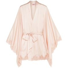 Agent Provocateur Abbey lace-trimmed stretch-silk satin robe (€945) ❤ liked on Polyvore featuring intimates, robes, lingerie, pajamas, pink, vintage kimono robe, pink bath robe, vintage satin robe, bride robe and bridal robe