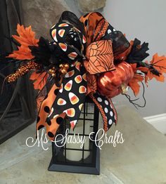 Halloween Lantern Swag - Halloween Bow - Halloween Swag - Candy Corn Bow…