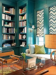 Dark blue home library photo