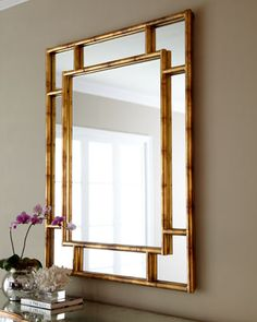 """Bamboo"" Paneled Mirror - Arteriors at Horchow"