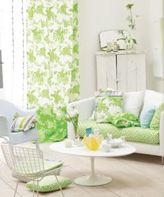 Wonderful green and white room that looks like Spring! Love!