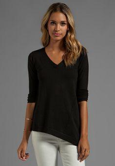 Central Park West Asymmetrical Casper Sweater in Black $107