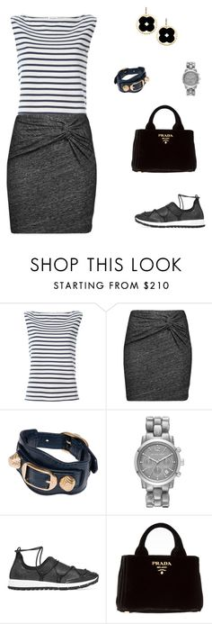 """Untitled #2237"" by bushphawan ❤ liked on Polyvore featuring Yves Saint Laurent, IRO, Balenciaga, Michael Kors, Jimmy Choo, Prada and Asha by ADM"