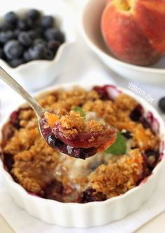This healthier blueberry peach crumble is completely gluten-free and whole grain! Use any fruit and can easily make as few as 2 or up to 8 servings.