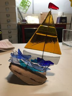 Fused Glass Jewelry, Fused Glass Art, Stained Glass, Glass Boat, Glass Fusion Ideas, Paint Stain, Ocean Art, Glass Ornaments, Art Decor