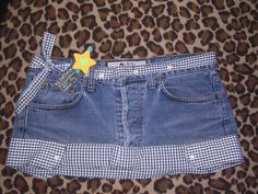 Cute skirt, of upcycled denim jeans and a gingham shirt.